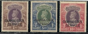 India Chamba 1938-40 Officials Top Three values 2R-10R SGO68-SGO71 MNH CV£190