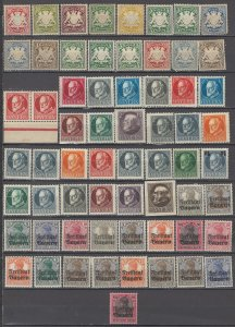 COLLECTION LOT OF #1222 BAVARIA 63 MH/UNUSED NO GUM STAMPS 1876+