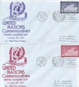 UN #27/28 UN DAY FDC 1954 - Anderson set of 2
