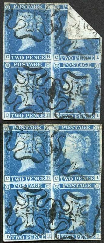 1841 2d Blue (CH/DI) Block of 4 with 12 in Cross with a GREAT Paper Fold