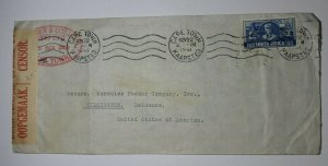 South Africa Capetown 1941 Cover to USA Censor Postal Union Seal Label SC# 85c