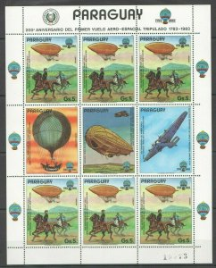 EC137 1983 PARAGUAY TRANSPORT AVIATION SPACE AERO-ESPACIAL MICHEL 25 EURO KB MNH