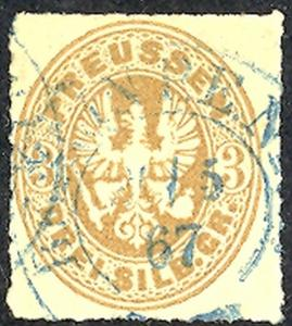 Prussia #20 used with scarce blue cnl. Lakeshore Philatelics