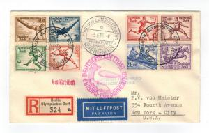 1936 LZ 129 Germany Hindenburg Zeppelin Olympics Cover to USA comp set # B82-B89