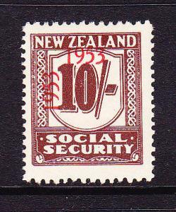 NEW ZEALAND 1953 10/-  SOCIAL SECURITY  MNH