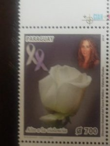 O) 2014 PARAGUAY, STOP VIOLENCE - CECILIA CUBAS GUSINKY- FLOWER PINK WHITE