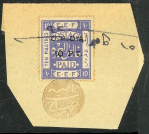 PALESTINE REVENUES 1920 10PT on 10pi OPDA Ovpt Bale 195 VFU on Piece Arabic Cxl