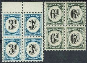 SOUTH WEST AFRICA 1931 POSTAGE DUE 3D AND 6D MNH ** BLOCKS