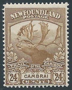 Newfoundland, 1919, Scott #125, 24c bister, Mint, Hinged, F-VF, Caribou