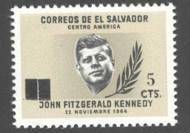 El Salvador Scott 843 MNH** surcharged JFK