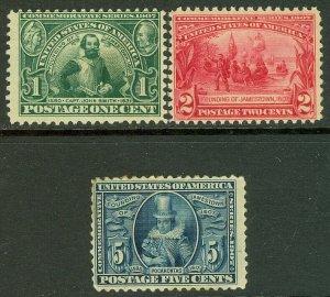 EDW1949SELL : USA 1907 Scott #328-30 Mint Original Gum. Back faults. Cat $177.00