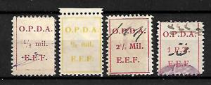 PALESTINE, BRITISH MANDATE PERIOD O.P.D.A. 4 REVENUE STAMPS 1919-1924