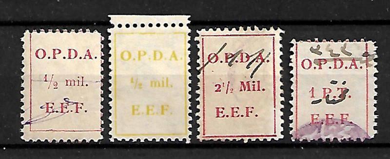 PALESTINE, BRITISH MANDATE PERIOD O.P.D.A. 4 REVENUE STAMPS 1919-1924