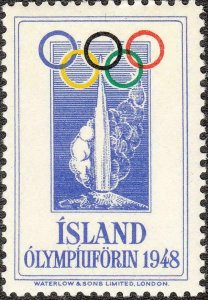 SALE Stamp Label Iceland 1948 Poster Cinderella Olympic London St. Moritz MNH