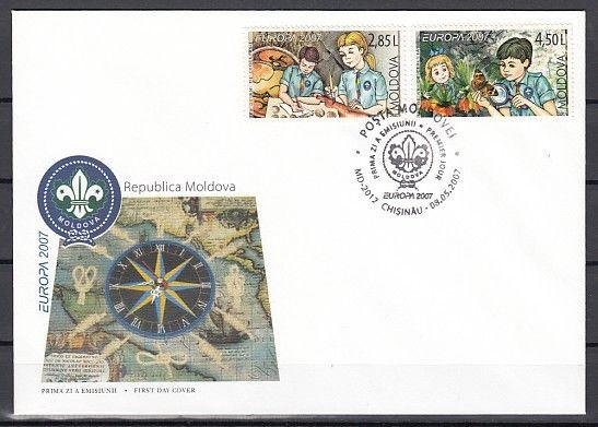 Moldova, Scott cat. 556-557. Scouting issue on a First day cover.  Butterfly.