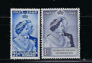 FALKLAND IS. DEPENDENCIES- SCOTT# 1L11-1L12  1948 SILVER WEDDING -MINT NH