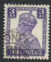 India Scott #174 3a King George VI used (1941)
