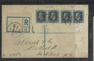 NIUE  COVER (P2707BB)  1920 KGV 2 1/2X 2 PRS, BOTH PERFS REG TO NZ