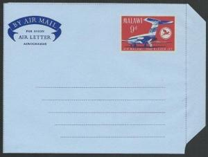 MALAWI 9d Air Malawi airletter - fine unused...............................50231