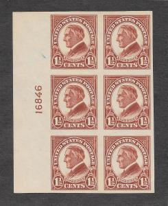 576 Unused,  1 1/2c. Harding, Plate Block, scv: $30, FREE INSURED SHIPPING