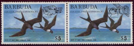 Barbuda #213-214 Complete Mint VF-NH USA/USSR Space Co-Operation
