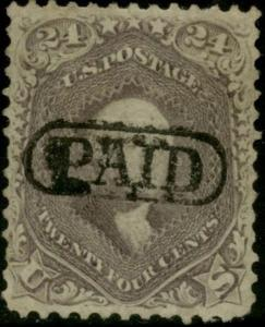 #70a 24c 1862 BROWN LILAC XF USED WITH PAID CANCEL CV $315 BP7777