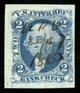 B454 U.S. Revenue Scott R5a 2c Bank Check imperforate, 1863 manuscript cancel