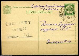 HUNGARY TISZALUCZ 2/25/28 STATIONERY CARD TO BUDAPEST 2/27/1928 AS SHOWN