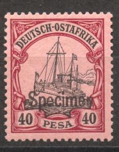 SPECIMEN Overprint on German East Africa 40 Pesa Yacht, MNH