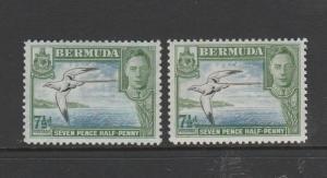 Bermuda 1938/52, 7 1/2d the 2 listed shades Fresh MM SG 114b & 114c