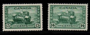 Canada Sc 258-9 1942 13 & 14 c tank stamps mint NH