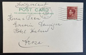 1937 Putney England Postcard Cover To Switzerland