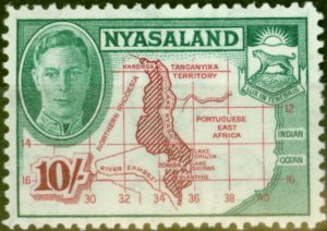 Nyasaland 1945 10s Claret & Emerald SG156 Fine Lightly Mtd Mint