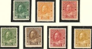 Canada 1911-25 King George V Scott 104-122 MNH all have extra fine centering.