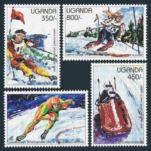 Uganda 1500-1503,1504 af, 1505-1506 sheets,MNH. Olympics Nagano-1998.Slalom,