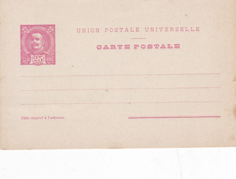 Portugal 25 Reis Prepaid Postcard Unused VGC