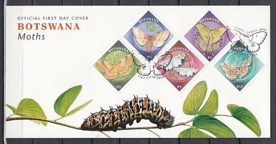 Botswana, Scott cat. 688-692. Butterflies and Moths issue on a First day cover.