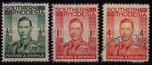 Zimbabwe (Southern Rhodesia) - #42,43,45 - 1937 - FU - KGVI - CV$0.75