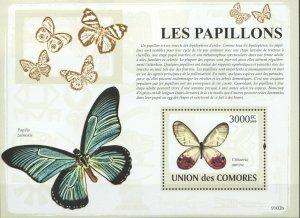 UC067 2009 COMOROS FAUNA INSECTS BUTTERFLIES PAPILLONS BL MNH