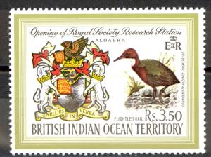 British Indian Ocean Territory Sc# 43 MNH 1971 Coat of Arms & Flightless Rail