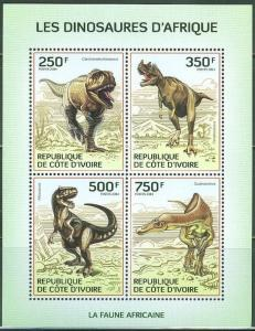 IVORY COAST 2014 FAUNA OF AFRICA DINOSAURS SHEET OF FOUR STAMPS