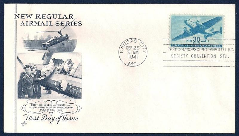 UNITED STATES FDC 30¢ Air Mail 1941 ArtCraft
