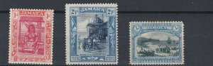 JAMAICA  1919 - 21  S G 79 - 83  1D TO 3D  VALUES  MH