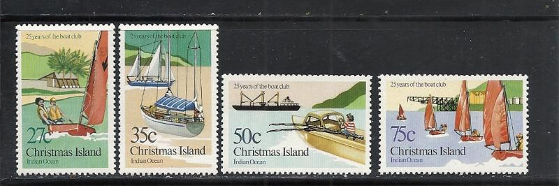 Christmas Island #138-41 comp mnh Scott cv $1.50 Sail Boats