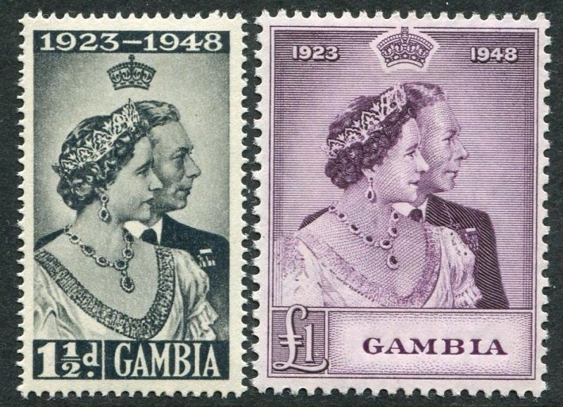 GAMBIA-1948 Royal Silver Wedding Set Sg 164-165 LIGHTLY MOUNTED MINT V20321