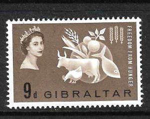 GIBRALTAR 1963 9d FREEDOM FROM HUNGER MLH