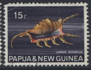 Papua New Guinea- Scott -272 - Shells -1968-69 - FU - Single - 15c Stamp
