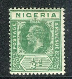 NIGERIA; 1912 early GV Crown CA issue fine Mint hinged Shade of 1/2d. value