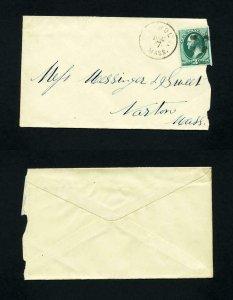 Cover from Athol, Massachusetts to Norton, Massachusetts dated 12-7-1870's
