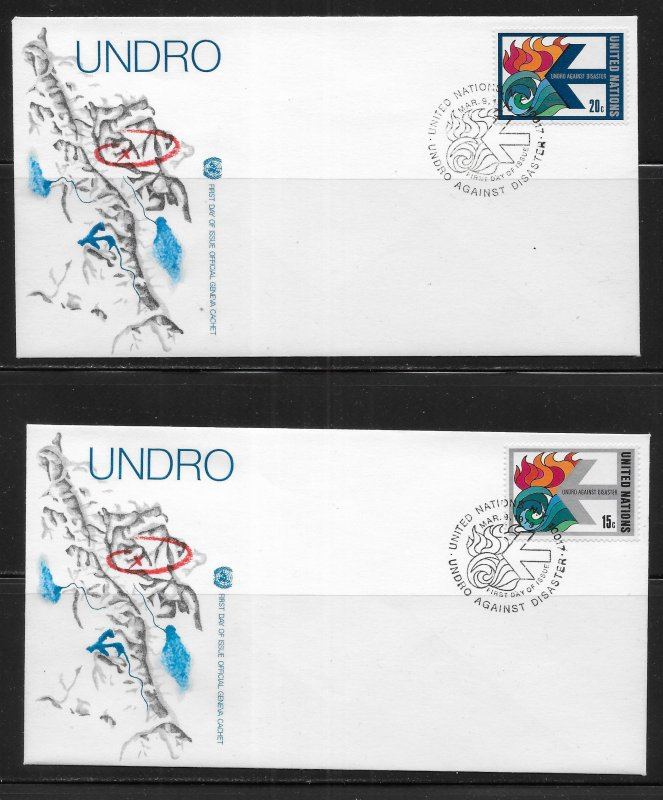 United Nations 308-9 UNDRO Geneva Cachet FDC First Day Cover